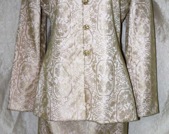 Vintage VICTOR COSTA Lace Pink/Gold Occaision Skirt Suit -Mint Condition size 8 Skirt/Jacket Lace Overlay Rhinestone Buttons