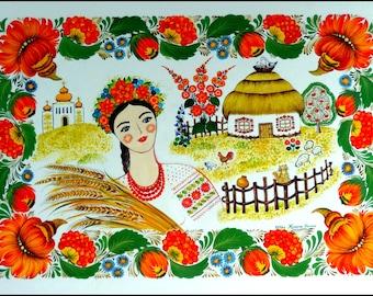 COUNTRYSIDE ROMANCE original painting etno canvas 70x50 cm Wall decoration  naive folk interior design Petrykivka style by Halyna Kulaga