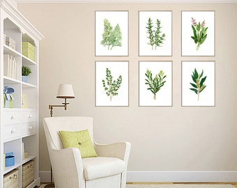 Set of 6 Herb watercolor painting prints. Rosemary, Dill, Tarragon, Thyme, Sage, Bay paintings, botanical prints, green home, kitchen decor
