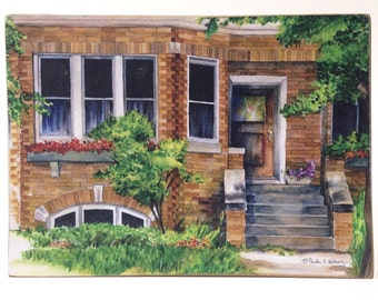 Watercolor art print mounted on wood panel — ready to hang — Chicago Style Bungalow-brick bungalow house with porch and windows