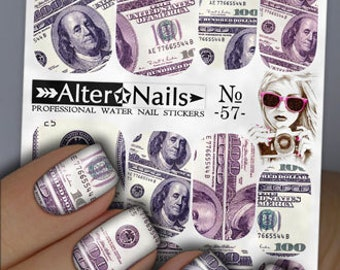 No. 57 Dollars Money Nail Water Wraps Art Stickers Decals