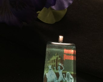 Haunted Mansion Poster Glass Tile Pendant