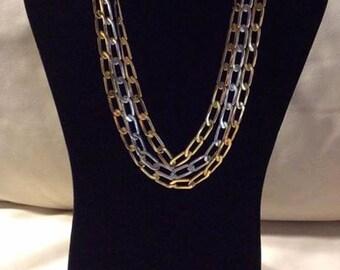 1980's Napier triple chain necklace silver gold vintage statement piece