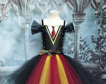 Harry potter Hermione Gryffindor school girl style tutu dress