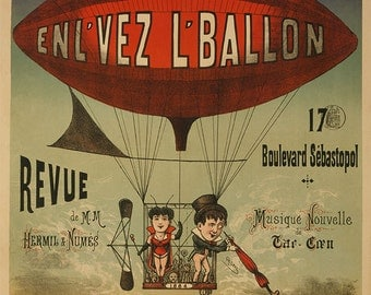 Paris Balloon Show and Music Festival Poster, Hot Air Balloon, Music Festival, Paris France, Lithograph Vintage Posters, Wall Art, 1898