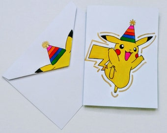 Pikachu Birthday Card With Matching Envelope,Pokemon Birthday Card,Pikachu Art,Hand Painted Pikachu,Birthday Card,Blank Card
