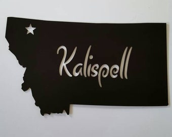 Kalispell, Montana Black Silhoutte Metal Home Decor. Housewarming, Christmas, Birthday Gift! Home or Office. Ready to Ship!