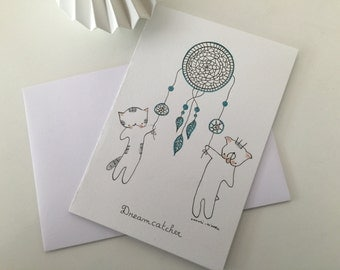 "Folded card ""Choumi et Michou dreamcatcher"""