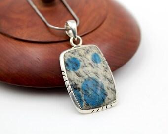 Jaspe K2 Sterling Silver Rectangle Pendant - Azurite granit - Azurite Granit K2 Jasper - Jaspe blue Azurite granit pendant
