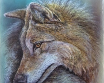 "Wolf ""Kurti"" canvas print pigment printing non-fading 40x40cm limited art canvas stretcher frame gift"