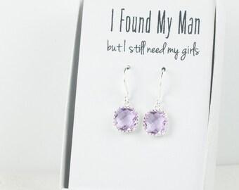 Lavender Silver Earrings, Square Silver Lavender Earrings, Lavender Wedding Jewelry, Bridesmaid Earrings, Lavender Accessories