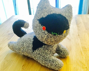Cat, handmade stuffed toy, made out off new socks, good as a home decor or as a toy for kids.
