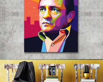 Tribute to Johnny Cash  FRAMED ART, personalized gift, name, pop art, Wall Art, Personalisierter Kunstdruck, gift for women, gift for men