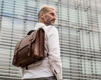 Men's Leather Briefcase, Double Gusset, Messenger Bag, Work Bag, Handmade Cross-body Bag, Full Grain Laptop's Bag, Men's Leather Saddle Bag