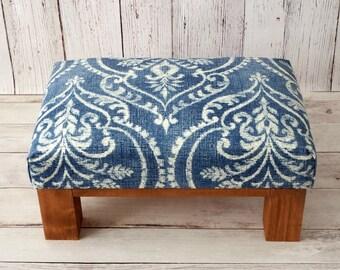 Footstool - ottoman - damask fabric pouf - blue ottoman - upholstered ottoman - rustic ottoman - damask home décor