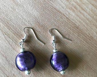 Purple Earrings   Simple Earrings   Drop Earrings   Circle Earrings  Boho Earrings