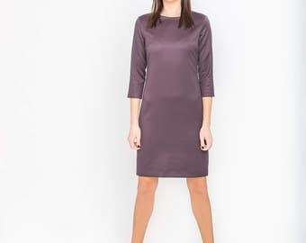 Fitted dress for women, Midi dress long sleeve, Dark purple dress, Pencil dress woman, Formal woman dress, Midi dress with sleeves, Minimal