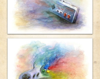 Watercolor Controller Poster Pair NES & SNES