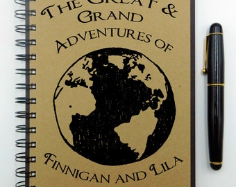Travel Notebook, Travel Journal, Custom Journal, Custom Notebook, Travel Diary, Spiral Notebook, Personalized Gift, Bullet Journal