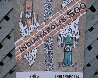"Indy 500 woodcut poster -11""x17"""