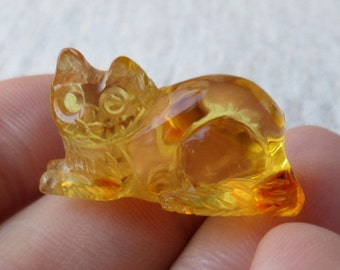 2,85gr. CAT Authentic Honey Natural Real Hand Carved Baltic Amber Amulet