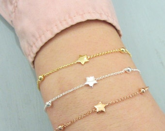 Everyday jewelry for women, Sterling silver star bracelet, small star bracelet, dainty star bracelet, delicate star, simple bracelet, Silver