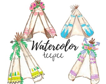 Watercolor tribal Teepee Clip Art -Scrapbook Supplies -Tribal Clip Art - Commercial Use