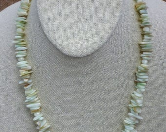 Lustrous White Faceted Mother of Pearl Ovals, Faceted Mother of Pearl Rondelles and Pale Green Shell Chips Necklace