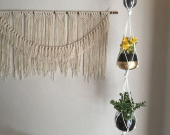 Triple Tier Macrame Plant Hanger |  Ceiling or Wall