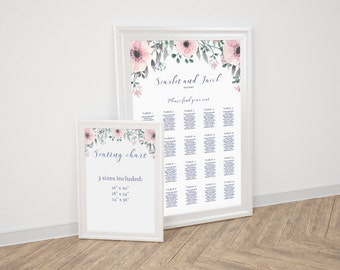 Flower Wedding Seating Chart Printable Seating Wedding Reception Decor Seating Plan Seating Chart Instant Download Wedding Seating Sign