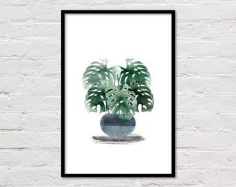 Monstera Plant Print, Monstera Leaf Printable, Monstera Watercolor Art, Watercolour, Green Wall Art, Plant Print, Modern Art, Download