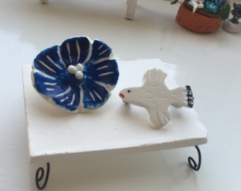 Brooch -Blue Flower and White Bird