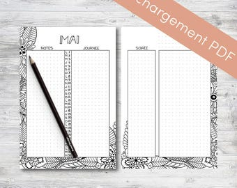 Monthly calendar Printable,May, Planner and Bullet Journal | Printable PDF