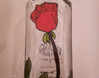 Corked red rose Love Potion Bottle