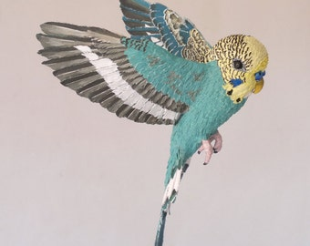 Handmade paper bird sculpture, budgie sculpture, paper sculpture, figurine, art and collectibles