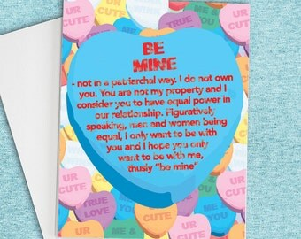 Be Mine (Not In A Patriarchal Way), Funny Card for her, Feminist Card, Love Card, Feminist love card, Feminist gift, Card for Girlfriend