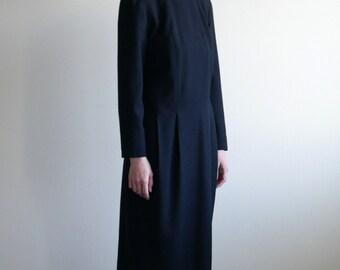 Black Simple Wool Midi Dress