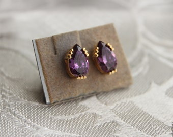 Gold Tone Amethyst Screwback Earrings