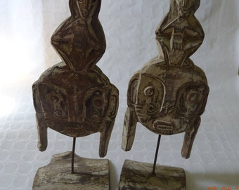 Wood totems, tribal decoration