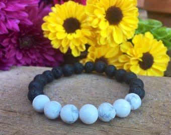 White Howlite + Lava Stone || Essential Oil Diffuser Bracelet || Women's Yoga Bracelet || Stackable Beaded Bracelet ||
