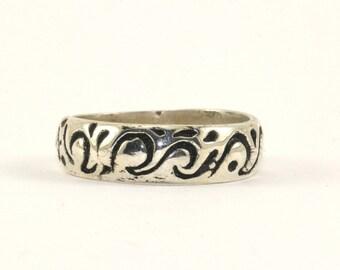 Vintage Flames Design Band Ring 925 Sterling Silver RG 207