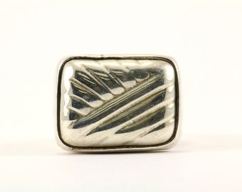 Vintage Mexico Ribbed Design Signet Ring 925 Sterling Silver RG 346-E
