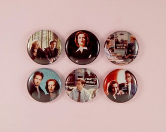 """1"""" x-files button pack - i want to believe, trust no one, the truth is out there"""