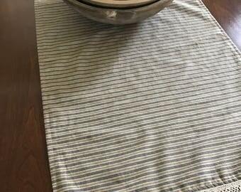 Primitive Table Runner/ Handmade/ Ticking Runner Make Do/ Farmhouse Table Cloth