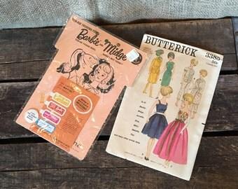 Vintage Barbie and Midge Fashion Accessories, Mattel Inc., Barbie Dress Makers #1831, Zipper and Buttons for Barbie, Butterick 3385