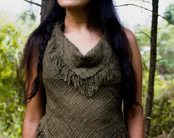 Cotton and Hemp Fringed Top