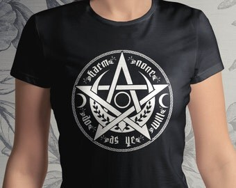 PENTACLE T-shirt - Harm None, Do As Ye Will - Witch pagan wicca rede - from USA Wiccan neopaganTee men women clothing Medusa Dollmaker