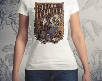 PRIDE and PREJUDICE T-shirt -  Jane Austen apparel printed in USA Tshirt  art nouveau books Mr Darcy Lizzie Bennet by Medusa Dollmaker