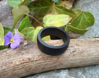 Wooden Ring (9) Ebony Ring/Organic Jewelry/Protection/Simple Ring/Ebony/Ebony Jewelry/Black Wood/Ebony Wood/Gaia/Tree Energy/Handmade/Nature