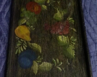 Antique Rustic Wooden Serving Tray, Handcrafted & Hand Painted